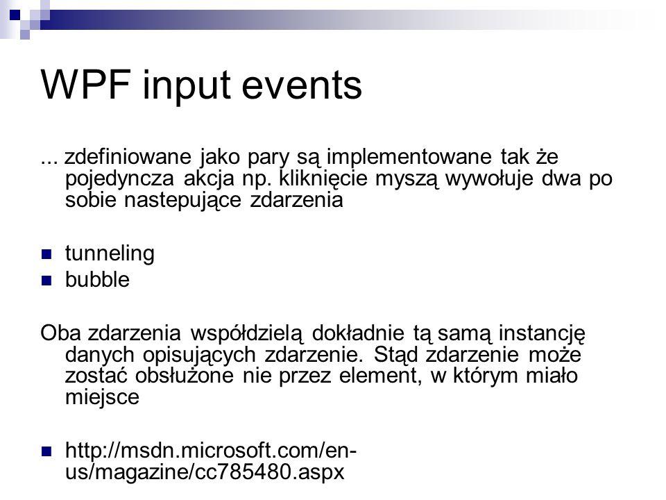 WPF input events... zdefiniowane jako pary są implementowane tak że pojedyncza akcja np. kliknięcie myszą wywołuje dwa po sobie nastepujące zdarzenia