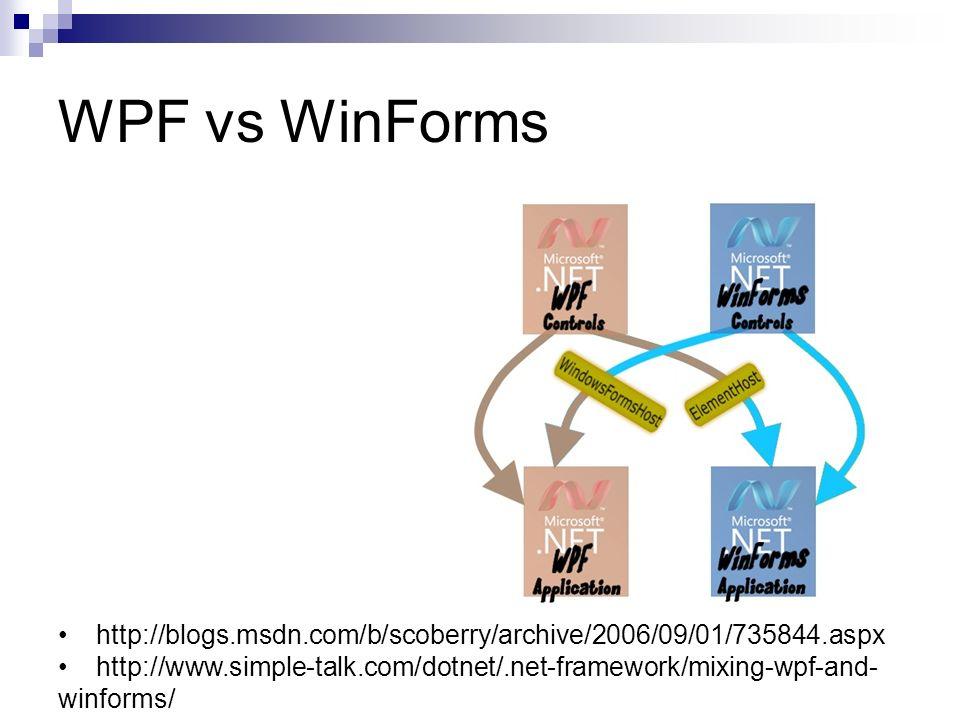 WPF vs WinForms http://blogs.msdn.com/b/scoberry/archive/2006/09/01/735844.aspx http://www.simple-talk.com/dotnet/.net-framework/mixing-wpf-and- winfo