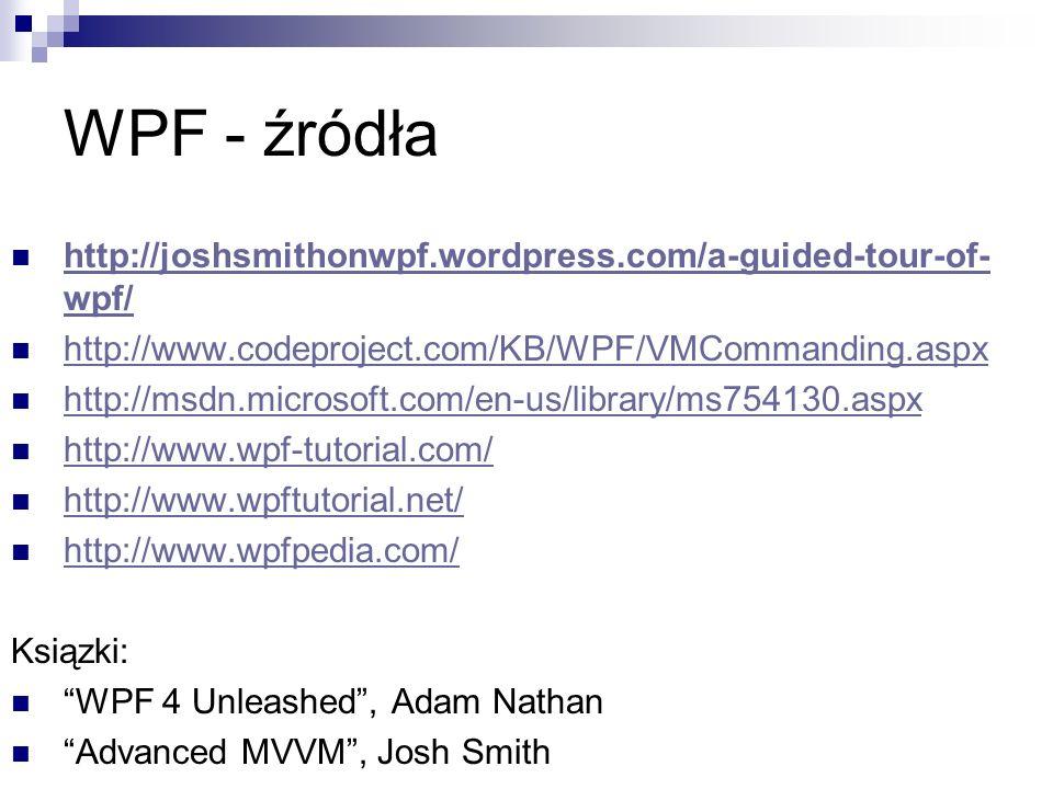 http://joshsmithonwpf.wordpress.com/a-guided-tour-of- wpf/ http://joshsmithonwpf.wordpress.com/a-guided-tour-of- wpf/ http://www.codeproject.com/KB/WP