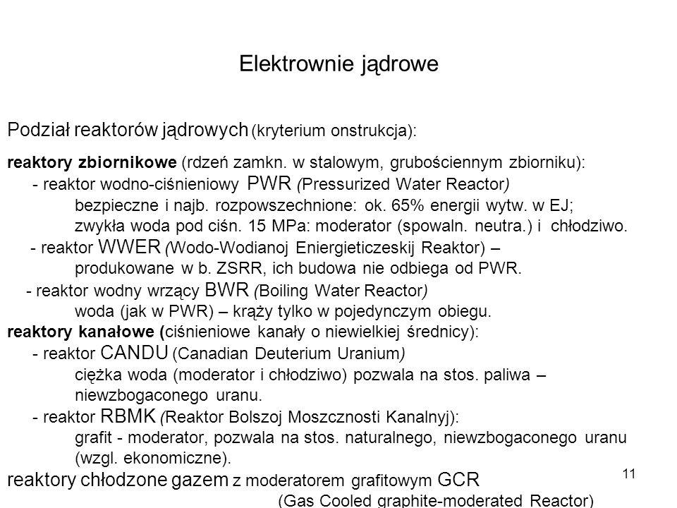 11 Elektrownie jądrowe Podział reaktorów jądrowych (kryterium onstrukcja): reaktory zbiornikowe (rdzeń zamkn. w stalowym, grubościennym zbiorniku): -