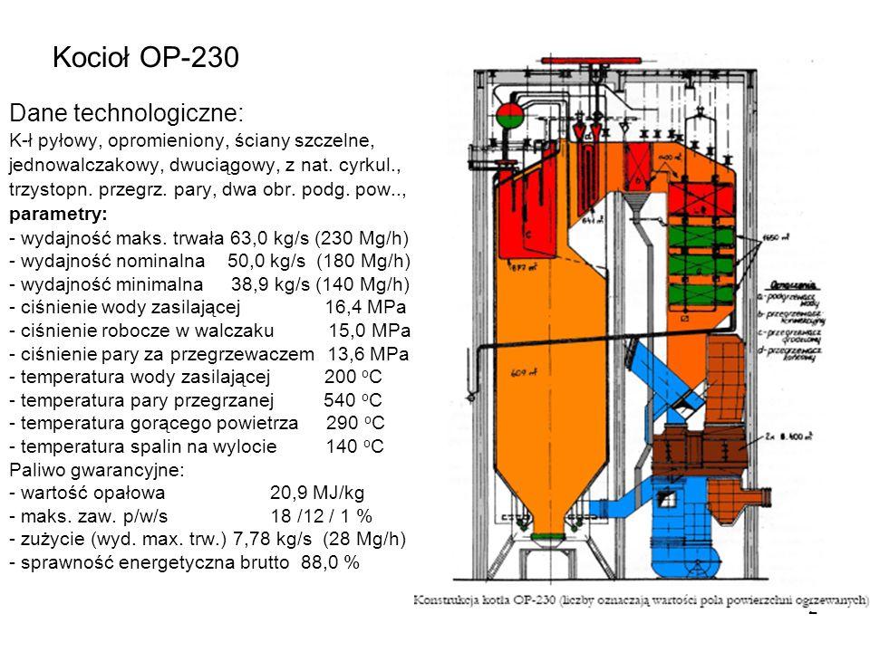 2 Kocioł OP-230 Dane technologiczne: K-ł pyłowy, opromieniony, ściany szczelne, jednowalczakowy, dwuciągowy, z nat. cyrkul., trzystopn. przegrz. pary,