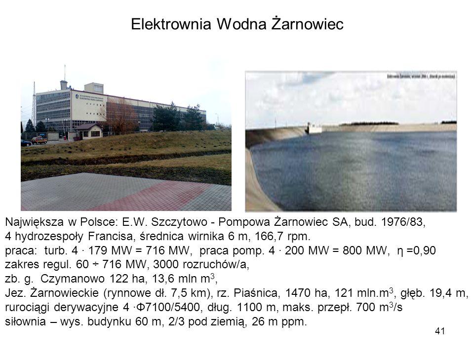 41 Elektrownia Wodna Żarnowiec Największa w Polsce: E.W. Szczytowo - Pompowa Żarnowiec SA, bud. 1976/83, 4 hydrozespoły Francisa, średnica wirnika 6 m