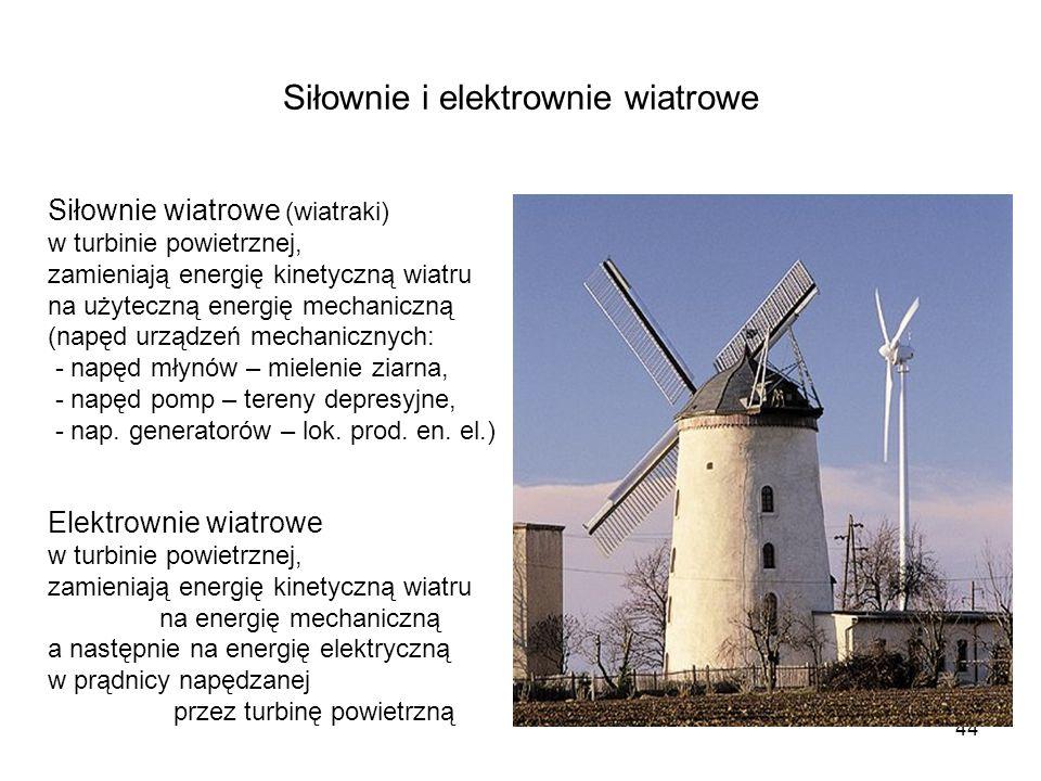 44 Siłownie i elektrownie wiatrowe Siłownie wiatrowe (wiatraki) w turbinie powietrznej, zamieniają energię kinetyczną wiatru na użyteczną energię mech