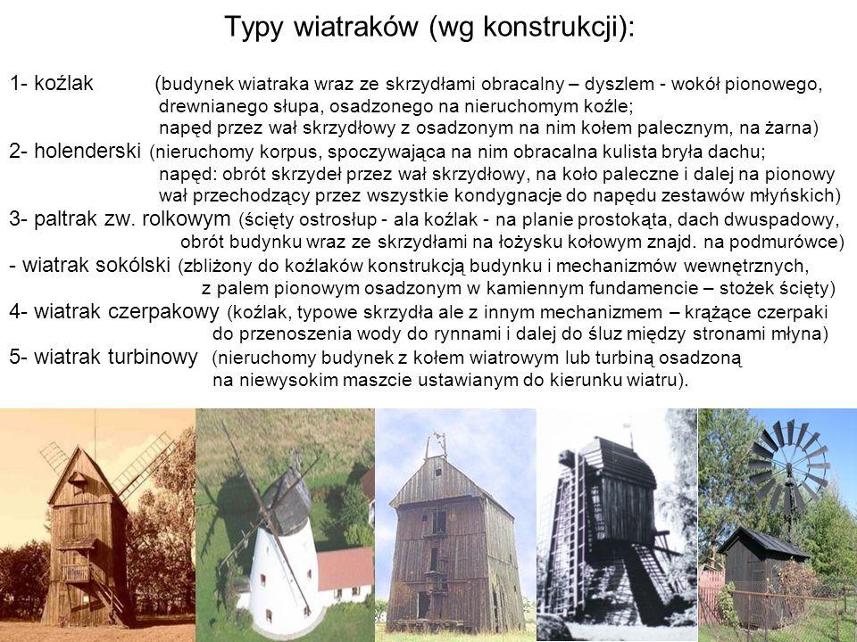 45 Typy wiatraków (wg konstrukcji): 1- koźlak ( budynek wiatraka wraz ze skrzydłami obracalny – dyszlem - wokół pionowego, drewnianego słupa, osadzone