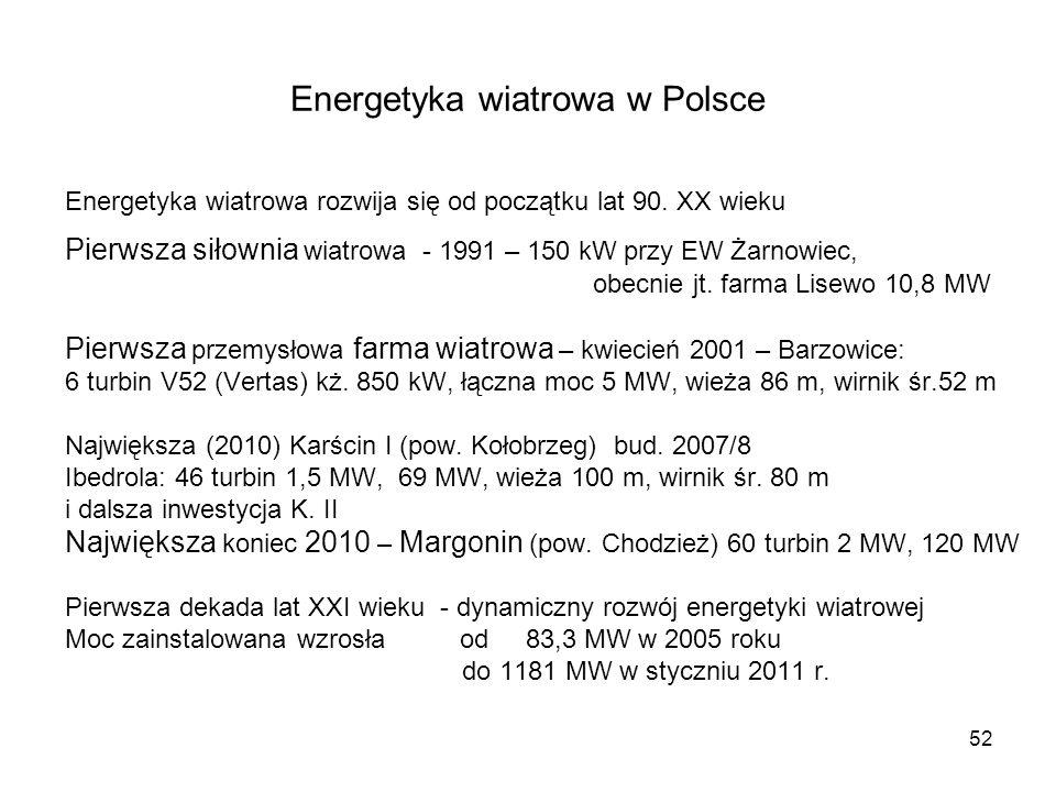 52 Energetyka wiatrowa w Polsce Energetyka wiatrowa rozwija się od początku lat 90. XX wieku Pierwsza siłownia wiatrowa - 1991 – 150 kW przy EW Żarnow