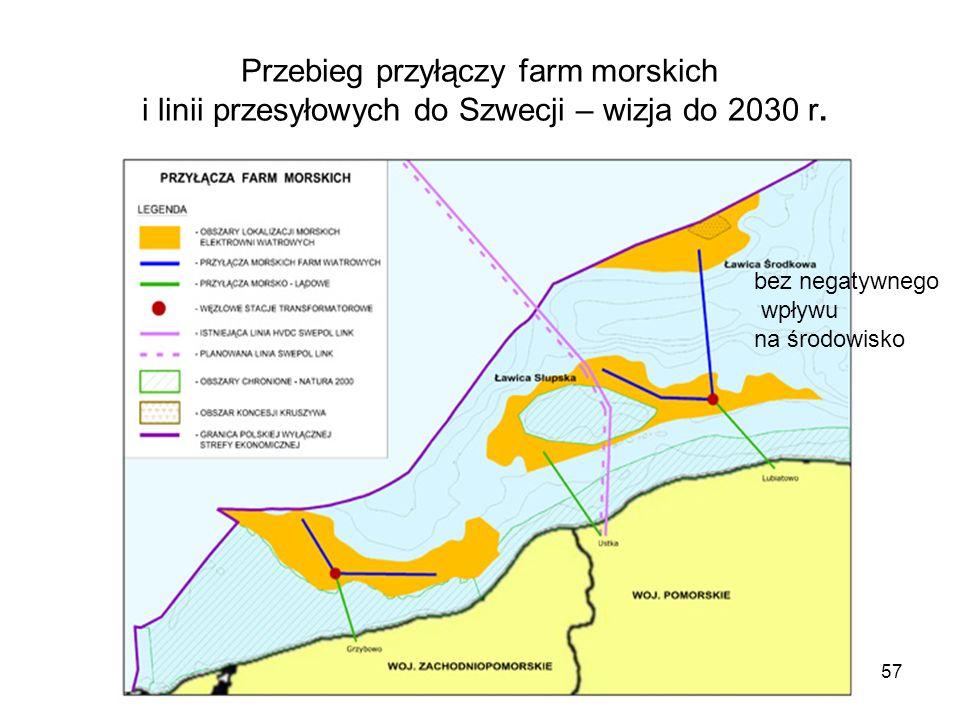 57 Przebieg przyłączy farm morskich i linii przesyłowych do Szwecji – wizja do 2030 r. bez negatywnego wpływu na środowisko