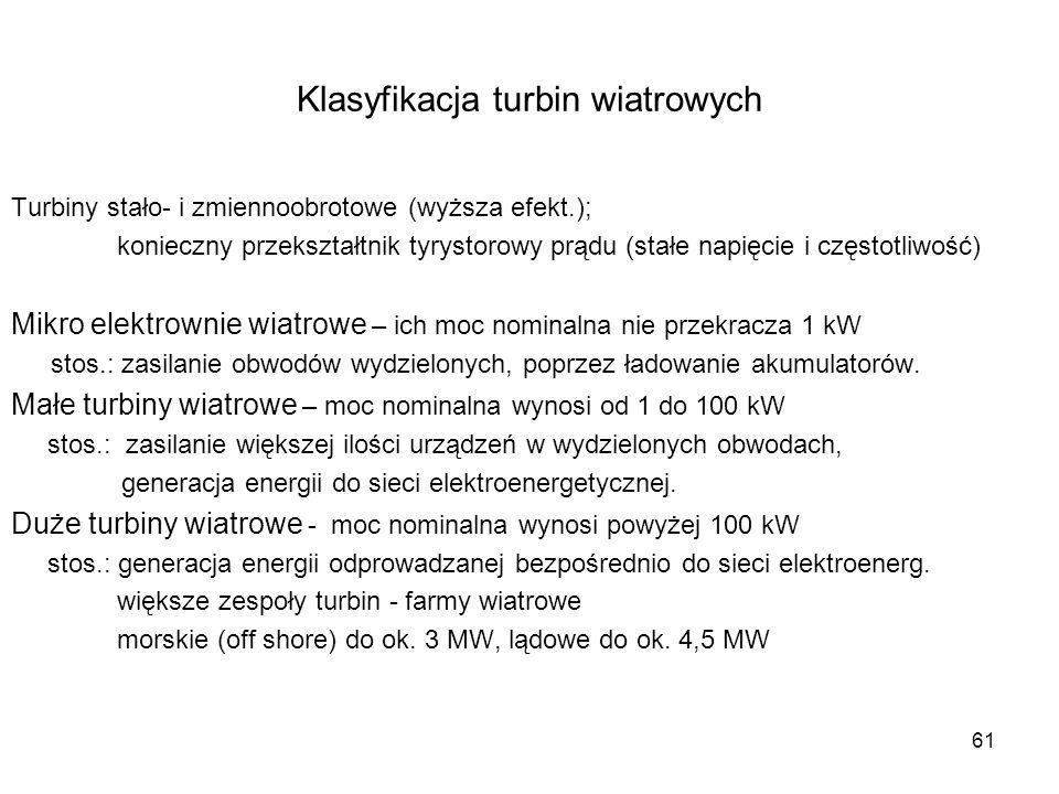 61 Klasyfikacja turbin wiatrowych Turbiny stało- i zmiennoobrotowe (wyższa efekt.); konieczny przekształtnik tyrystorowy prądu (stałe napięcie i częst