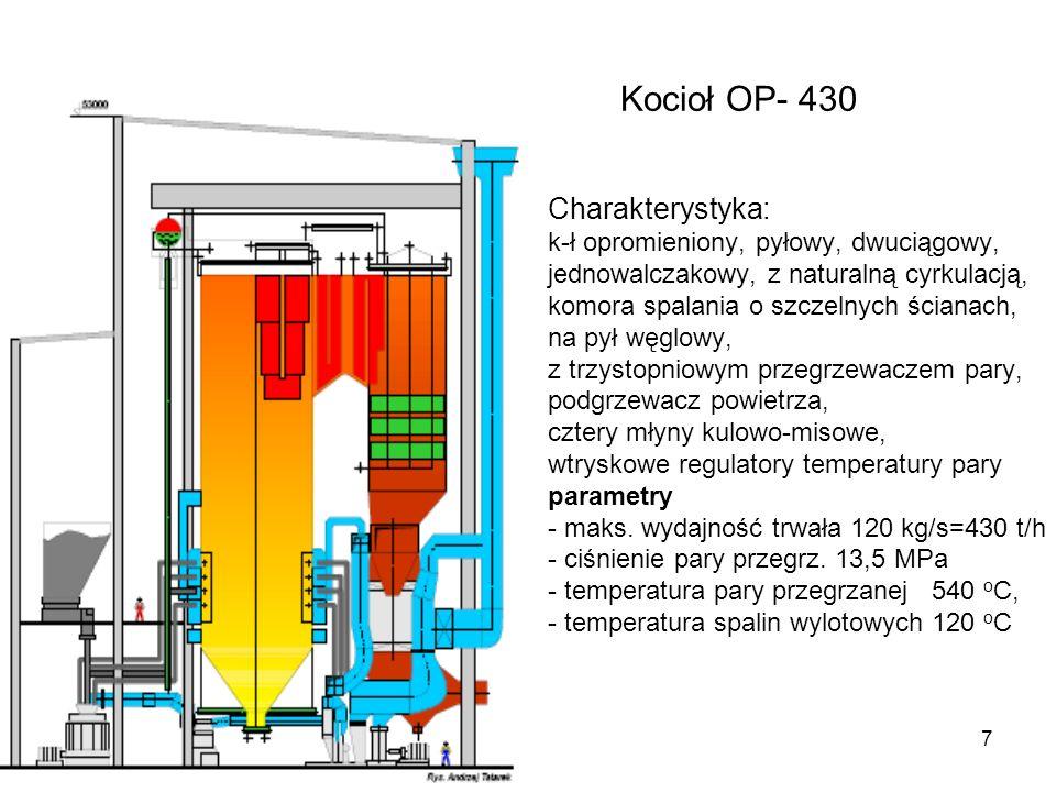 7 Kocioł OP- 430 Charakterystyka: k-ł opromieniony, pyłowy, dwuciągowy, jednowalczakowy, z naturalną cyrkulacją, komora spalania o szczelnych ścianach