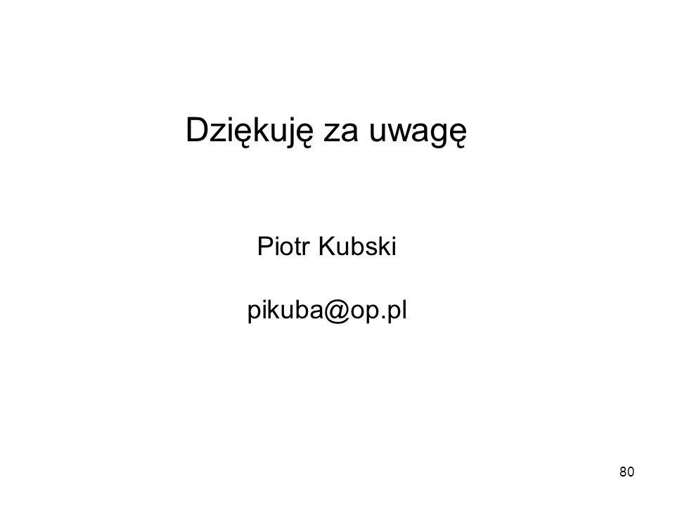 80 Dziękuję za uwagę Piotr Kubski pikuba@op.pl