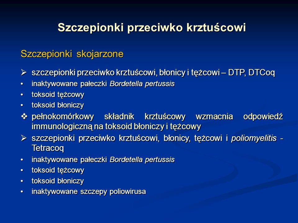Szczepionki przeciwko krztuścowi Szczepionki skojarzone szczepionki przeciwko krztuścowi, błonicy i tężcowi – DTP, DTCoq szczepionki przeciwko krztuśc