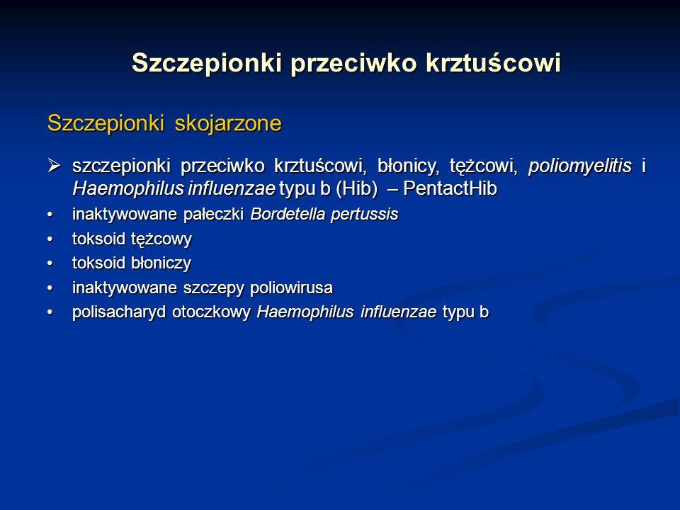 Szczepionki przeciwko krztuścowi Szczepionki skojarzone szczepionki przeciwko krztuścowi, błonicy, tężcowi, poliomyelitis i Haemophilus influenzae typ