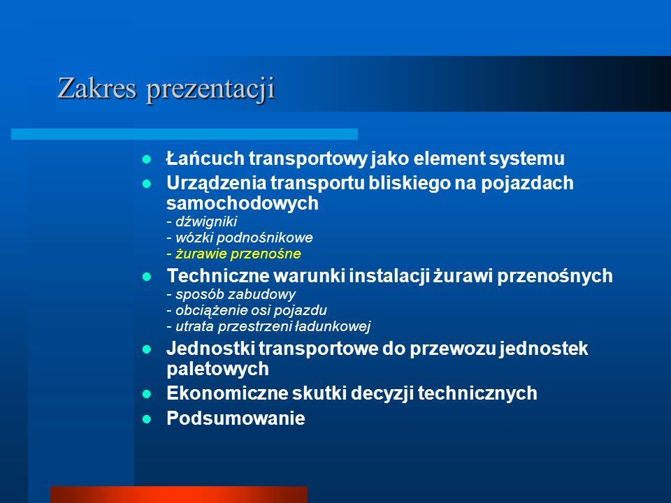 Zakres prezentacji Łańcuch transportowy jako element systemu Urządzenia transportu bliskiego na pojazdach samochodowych - dźwigniki - wózki podnośnikowe - żurawie przenośne Techniczne warunki zabudowy żurawi przenośnych - sposób zabudowy - obciążenie osi pojazdu - utrata przestrzeni ładunkowej Jednostki transportowe do przewozu jednostek paletowych Ekonomiczne skutki decyzji technicznych Podsumowanie
