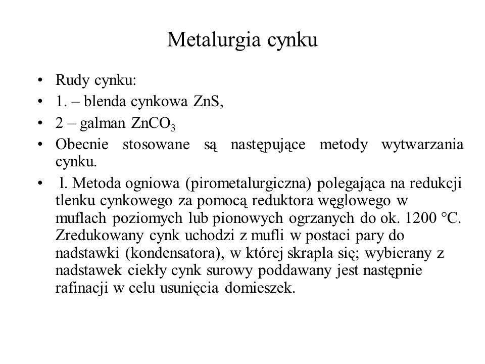 Metalurgia cynku Rudy cynku: 1. – blenda cynkowa ZnS, 2 – galman ZnCO 3 Obecnie stosowane są następujące metody wytwarzania cynku. l. Metoda ogniowa (