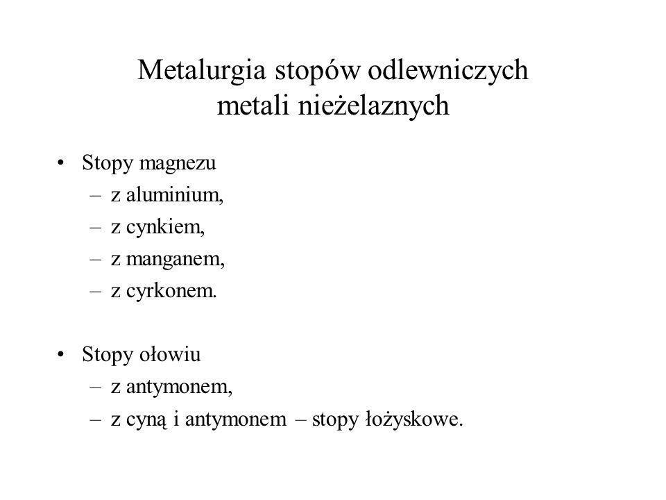 Metalurgia stopów odlewniczych metali nieżelaznych Stopy magnezu –z aluminium, –z cynkiem, –z manganem, –z cyrkonem. Stopy ołowiu –z antymonem, –z cyn