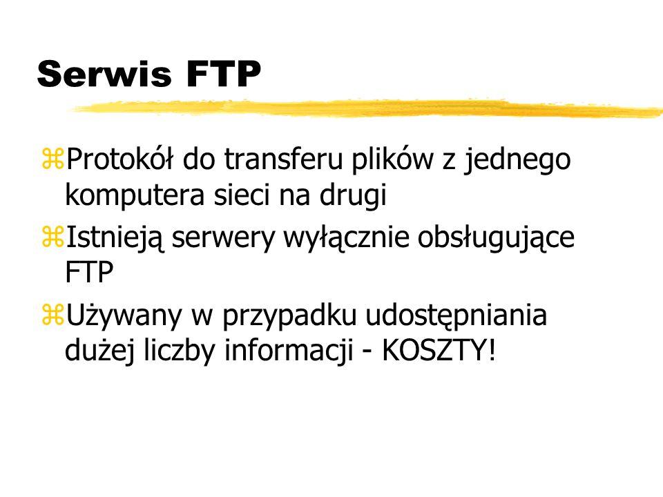 Serwis FTP zProtokół do transferu plików z jednego komputera sieci na drugi zIstnieją serwery wyłącznie obsługujące FTP zUżywany w przypadku udostępni