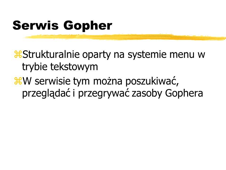 Serwis Gopher zStrukturalnie oparty na systemie menu w trybie tekstowym zW serwisie tym można poszukiwać, przeglądać i przegrywać zasoby Gophera