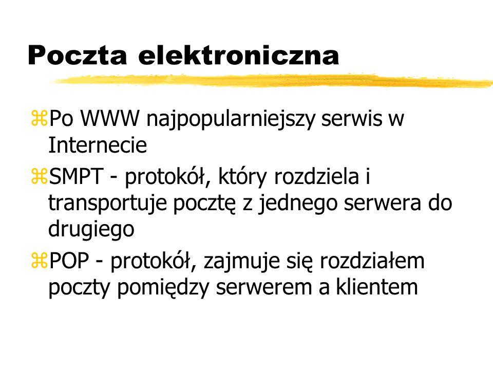 Poczta elektroniczna zPo WWW najpopularniejszy serwis w Internecie zSMPT - protokół, który rozdziela i transportuje pocztę z jednego serwera do drugie