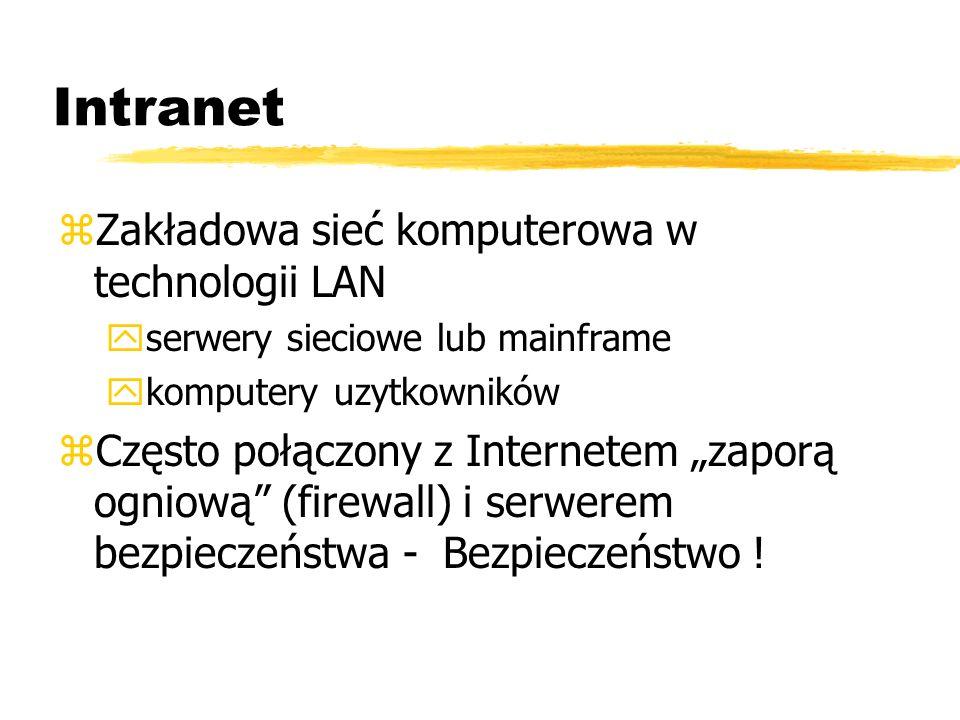 Intranet zZakładowa sieć komputerowa w technologii LAN yserwery sieciowe lub mainframe ykomputery uzytkowników zCzęsto połączony z Internetem zaporą o