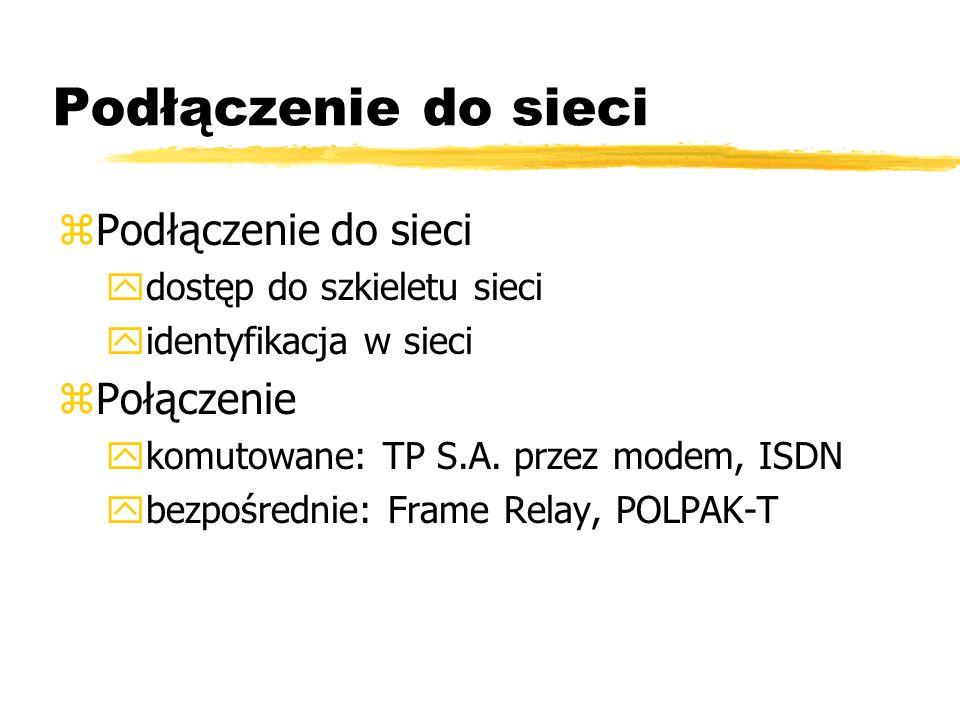 Podłączenie do sieci zPodłączenie do sieci ydostęp do szkieletu sieci yidentyfikacja w sieci zPołączenie ykomutowane: TP S.A. przez modem, ISDN ybezpo