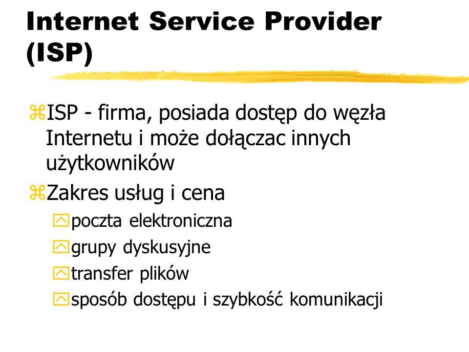 Internet Service Provider (ISP) zISP - firma, posiada dostęp do węzła Internetu i może dołączac innych użytkowników zZakres usług i cena ypoczta elekt