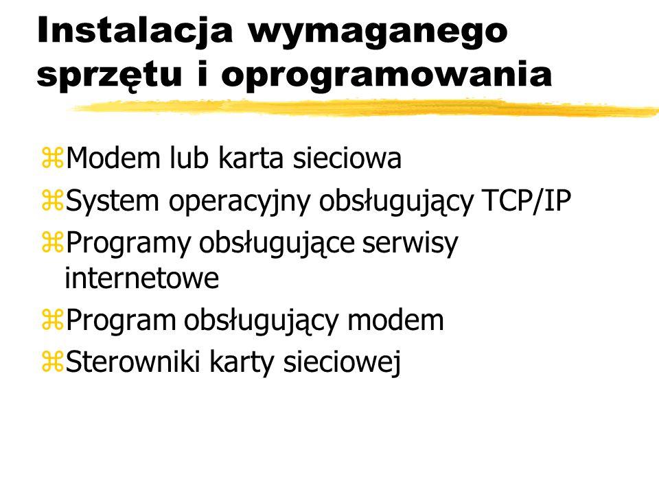 Instalacja wymaganego sprzętu i oprogramowania zModem lub karta sieciowa zSystem operacyjny obsługujący TCP/IP zProgramy obsługujące serwisy interneto