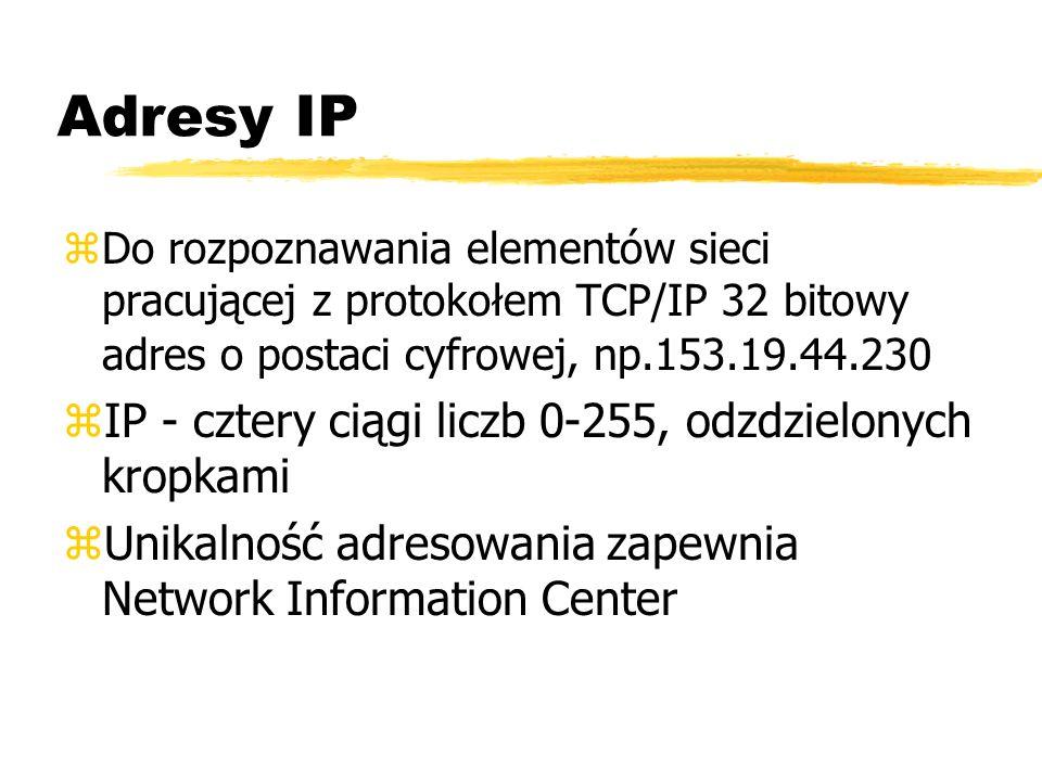 Adresy IP zDo rozpoznawania elementów sieci pracującej z protokołem TCP/IP 32 bitowy adres o postaci cyfrowej, np.153.19.44.230 zIP - cztery ciągi lic