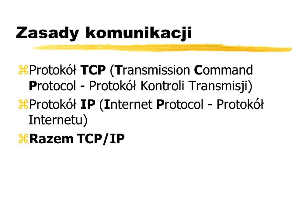 Zasady komunikacji zProtokół TCP (Transmission Command Protocol - Protokół Kontroli Transmisji) zProtokół IP (Internet Protocol - Protokół Internetu)