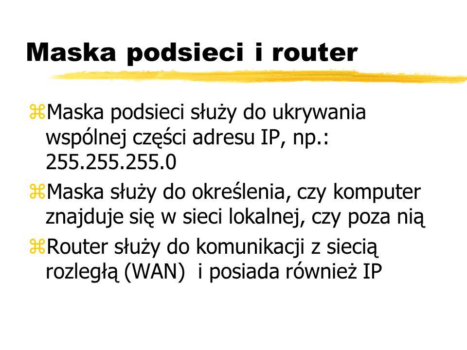 Maska podsieci i router zMaska podsieci służy do ukrywania wspólnej części adresu IP, np.: 255.255.255.0 zMaska służy do określenia, czy komputer znaj