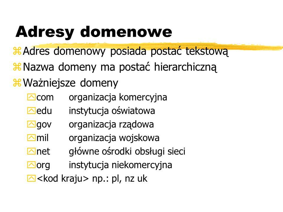 Adresy domenowe zAdres domenowy posiada postać tekstową zNazwa domeny ma postać hierarchiczną zWażniejsze domeny ycomorganizacja komercyjna yeduinstyt