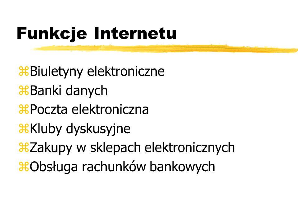 Funkcje Internetu zBiuletyny elektroniczne zBanki danych zPoczta elektroniczna zKluby dyskusyjne zZakupy w sklepach elektronicznych zObsługa rachunków