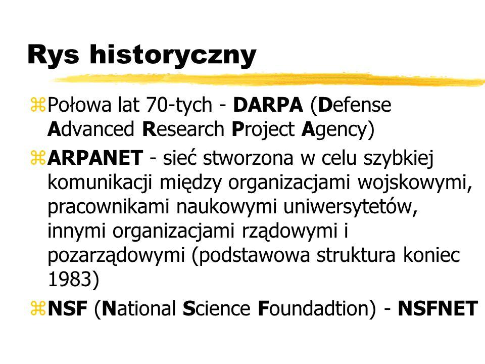 Rys historyczny zPołowa lat 70-tych - DARPA (Defense Advanced Research Project Agency) zARPANET - sieć stworzona w celu szybkiej komunikacji między or
