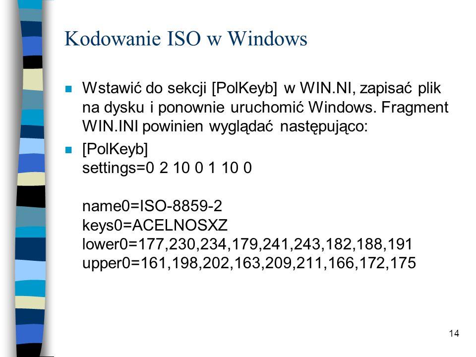 14 Kodowanie ISO w Windows n Wstawić do sekcji [PolKeyb] w WIN.NI, zapisać plik na dysku i ponownie uruchomić Windows. Fragment WIN.INI powinien wyglą