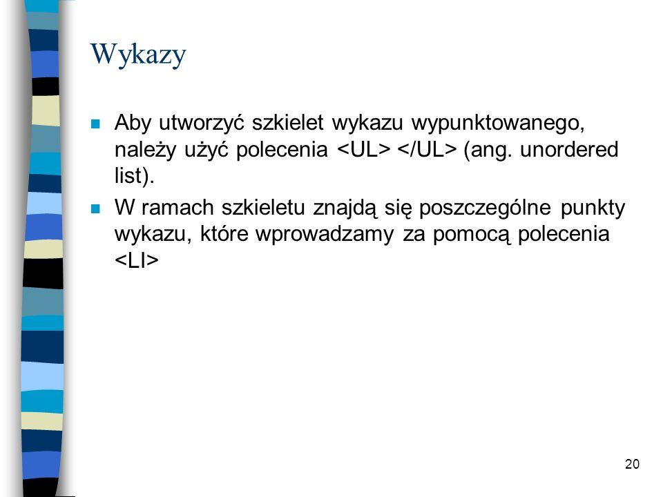 20 Wykazy n Aby utworzyć szkielet wykazu wypunktowanego, należy użyć polecenia (ang. unordered list). n W ramach szkieletu znajdą się poszczególne pun