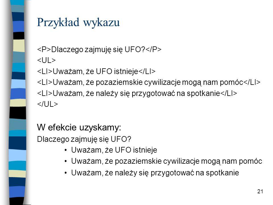 21 Przykład wykazu Dlaczego zajmuję się UFO? Uważam, że UFO istnieje Uważam, że pozaziemskie cywilizacje mogą nam pomóc Uważam, że należy się przygoto