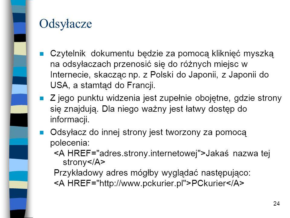 24 Odsyłacze n Czytelnik dokumentu będzie za pomocą kliknięć myszką na odsyłaczach przenosić się do różnych miejsc w Internecie, skacząc np. z Polski