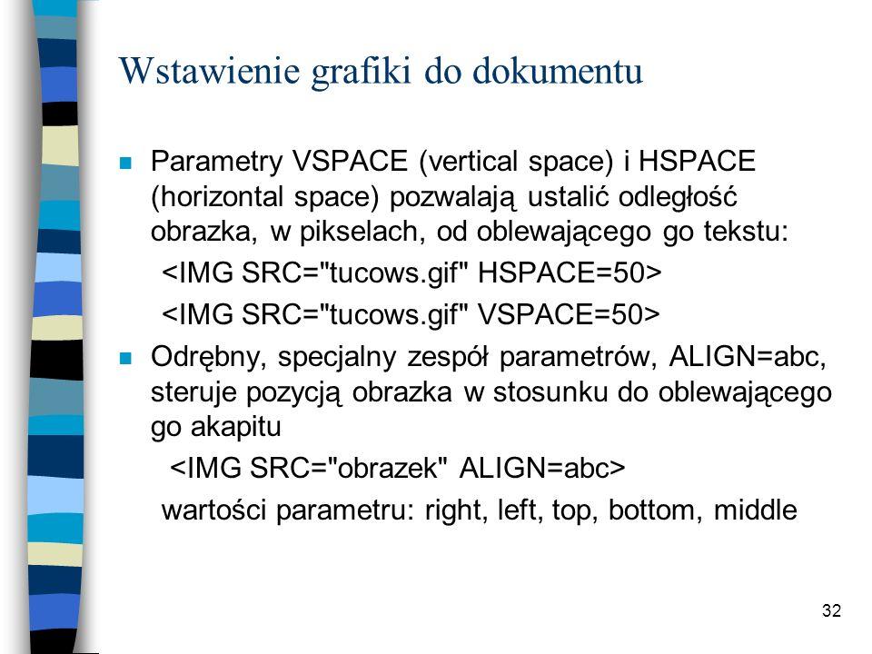 32 Wstawienie grafiki do dokumentu n Parametry VSPACE (vertical space) i HSPACE (horizontal space) pozwalają ustalić odległość obrazka, w pikselach, o