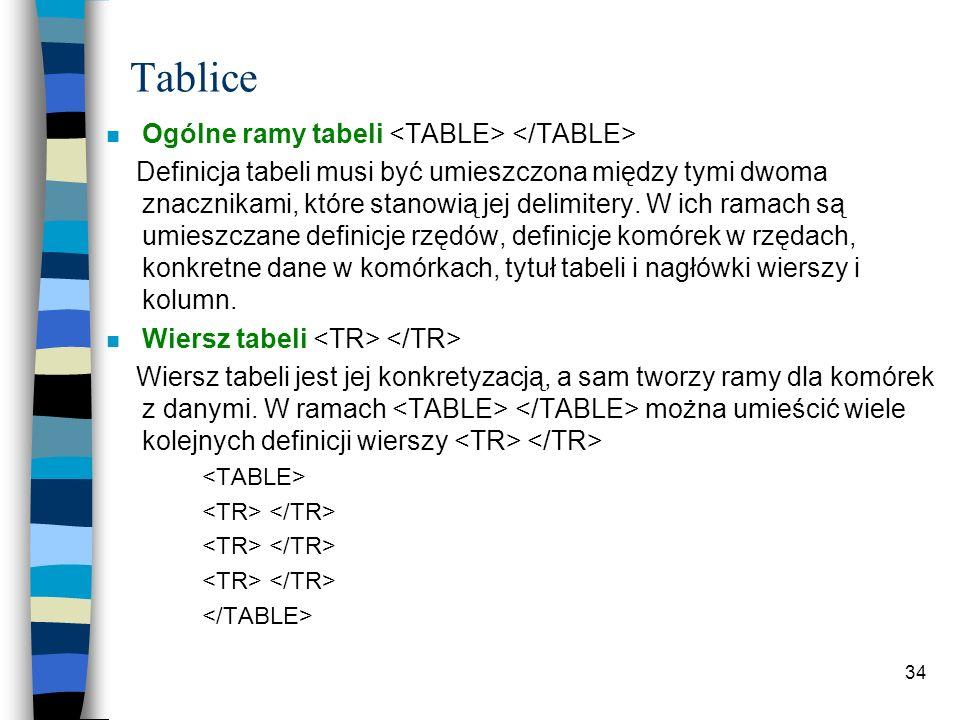 34 Tablice n Ogólne ramy tabeli Definicja tabeli musi być umieszczona między tymi dwoma znacznikami, które stanowią jej delimitery. W ich ramach są um