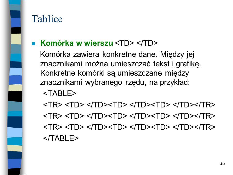 35 Tablice n Komórka w wierszu Komórka zawiera konkretne dane. Między jej znacznikami można umieszczać tekst i grafikę. Konkretne komórki są umieszcza