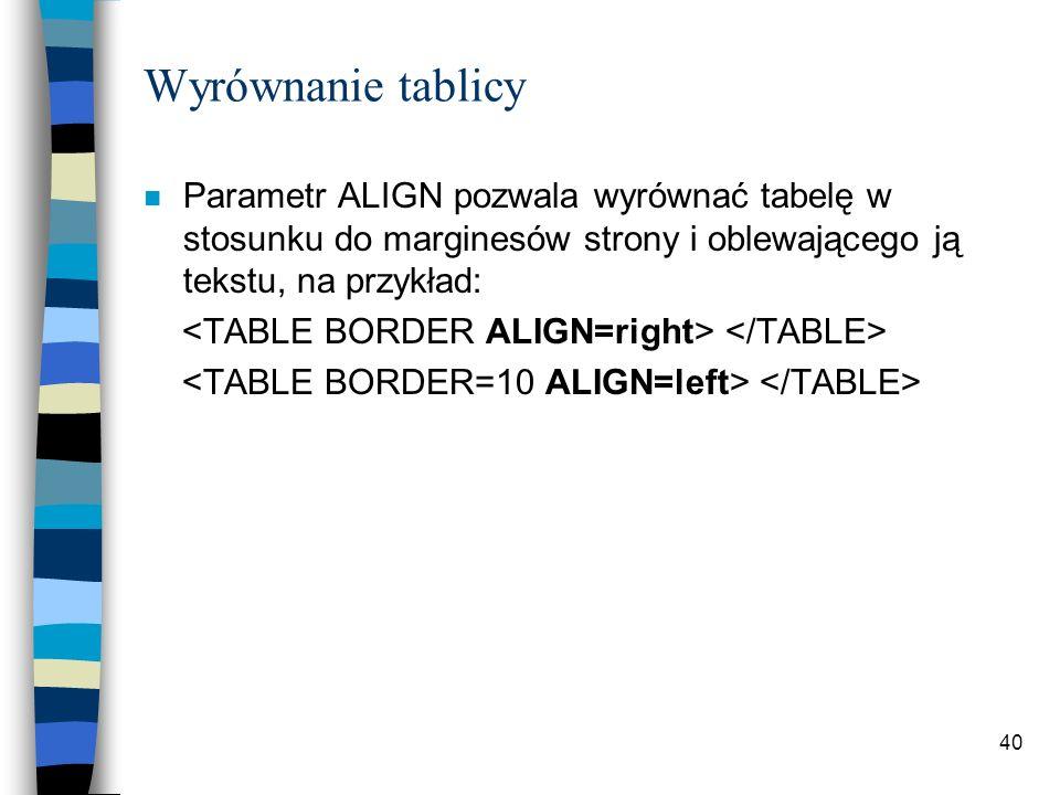 40 Wyrównanie tablicy n Parametr ALIGN pozwala wyrównać tabelę w stosunku do marginesów strony i oblewającego ją tekstu, na przykład: