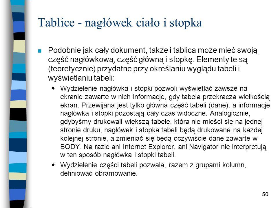 50 Tablice - nagłówek ciało i stopka n Podobnie jak cały dokument, także i tablica może mieć swoją część nagłówkową, część główną i stopkę. Elementy t