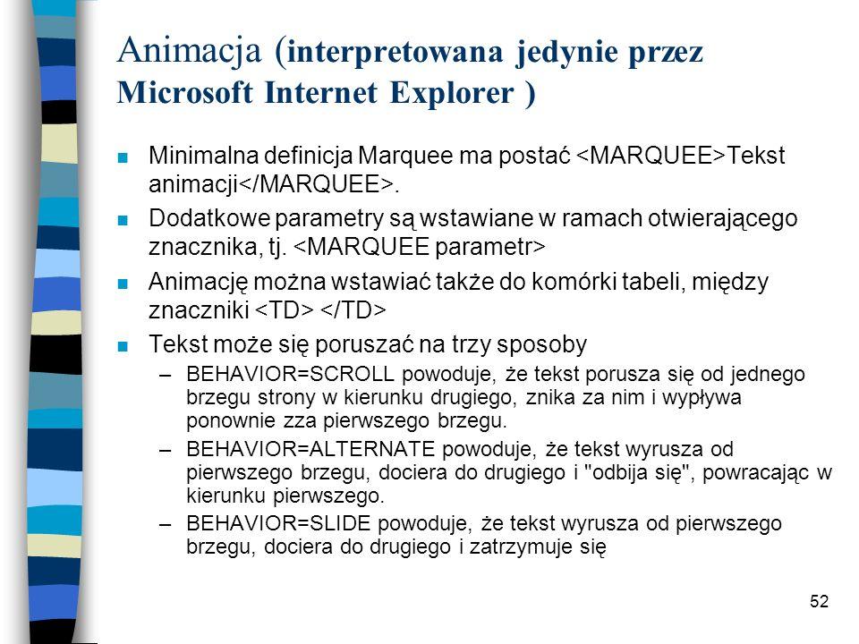 52 Animacja ( interpretowana jedynie przez Microsoft Internet Explorer ) n Minimalna definicja Marquee ma postać Tekst animacji. n Dodatkowe parametry