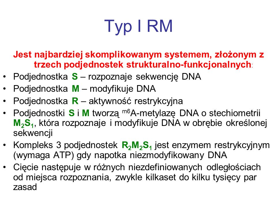 Typ I RM Jest najbardziej skomplikowanym systemem, złożonym z trzech podjednostek strukturalno-funkcjonalnych : Podjednostka S – rozpoznaje sekwencję