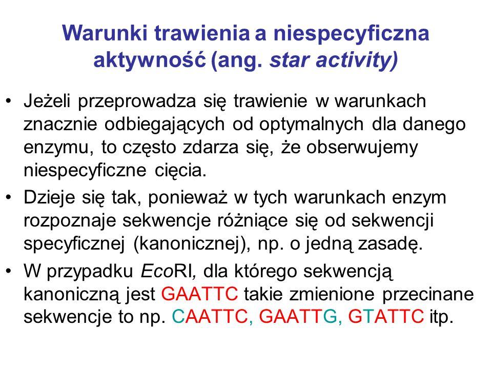 Warunki trawienia a niespecyficzna aktywność (ang. star activity) Jeżeli przeprowadza się trawienie w warunkach znacznie odbiegających od optymalnych