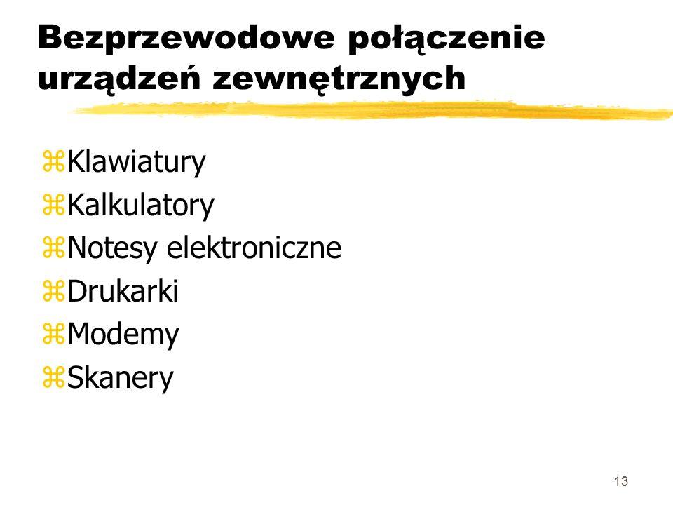 13 Bezprzewodowe połączenie urządzeń zewnętrznych zKlawiatury zKalkulatory zNotesy elektroniczne zDrukarki zModemy zSkanery
