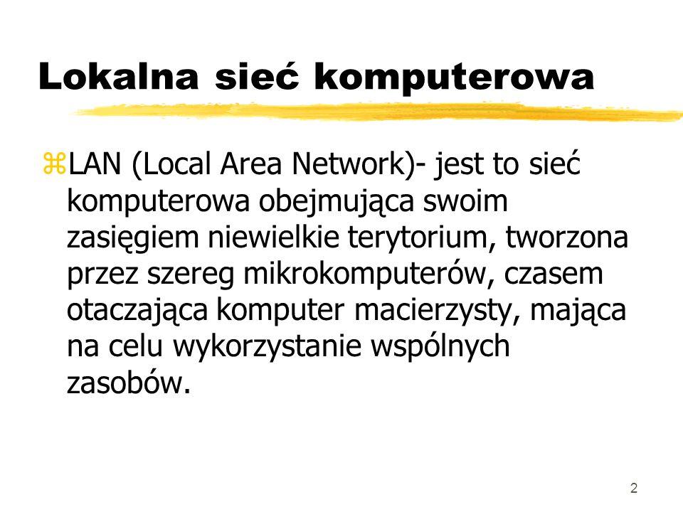 2 zLAN (Local Area Network)- jest to sieć komputerowa obejmująca swoim zasięgiem niewielkie terytorium, tworzona przez szereg mikrokomputerów, czasem