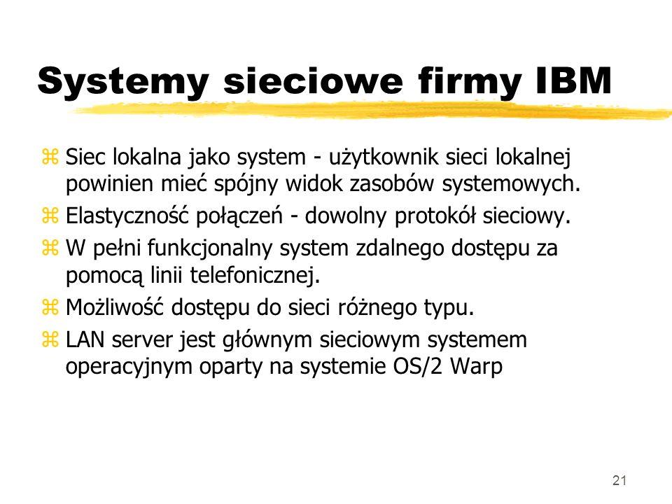 21 Systemy sieciowe firmy IBM zSiec lokalna jako system - użytkownik sieci lokalnej powinien mieć spójny widok zasobów systemowych. zElastyczność połą