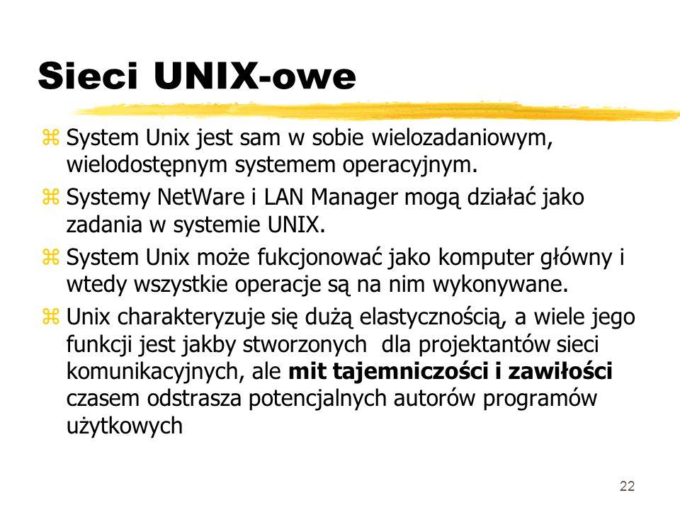 22 Sieci UNIX-owe zSystem Unix jest sam w sobie wielozadaniowym, wielodostępnym systemem operacyjnym. zSystemy NetWare i LAN Manager mogą działać jako