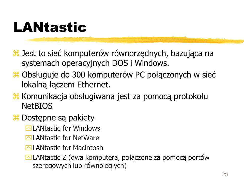 23 LANtastic zJest to sieć komputerów równorzędnych, bazująca na systemach operacyjnych DOS i Windows. zObsługuje do 300 komputerów PC połączonych w s