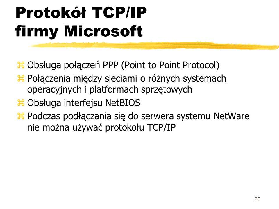 25 Protokół TCP/IP firmy Microsoft zObsługa połączeń PPP (Point to Point Protocol) zPołączenia między sieciami o różnych systemach operacyjnych i plat