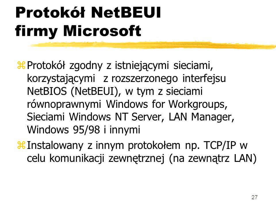 27 Protokół NetBEUI firmy Microsoft zProtokół zgodny z istniejącymi sieciami, korzystającymi z rozszerzonego interfejsu NetBIOS (NetBEUI), w tym z sie